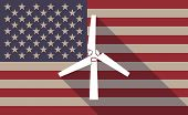 picture of generator  - Illustration of an USA flag icon with a wind generator - JPG