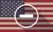 pic of subtraction  - Illustration of an USA flag icon with a subtraction sign - JPG