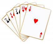 picture of poker hand  - The poker hand named high hand over a white background - JPG