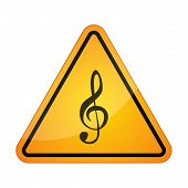 picture of g clef  - Illustration of a danger signal icon with a g clef - JPG