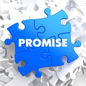 foto of promises  - Promise on Blue Puzzle on White Background - JPG