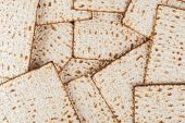 pic of matzah  - Matzot for pesach pile isolated on white background - JPG