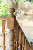 stock photo of carving  - wood staircase banister carving wooden thai style - JPG