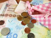 picture of copper coins  - Coins and Banknotes of Thai Baht Money Background with Pink and White Purse - JPG