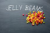 image of jelly beans  - the jelly beans on chalkboard - JPG