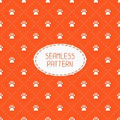 image of paw-print  - Seamless pattern with animal footprints - JPG