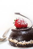 stock photo of chocolate spoon  - fresh chocolate strawberry mousse over white with silver spoon - JPG