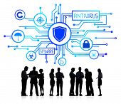 stock photo of social-security  - Silhouette Group of Business People with Network Security Concept - JPG