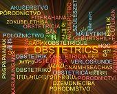 stock photo of obstetrics  - Background concept wordcloud multilanguage international many language illustration of obstetrics glowing light - JPG