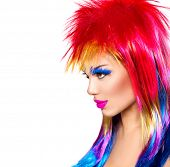 picture of colore  - Beauty Fashion Punk Model Girl with Colorful Dyed Hair - JPG