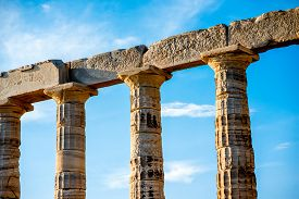 picture of poseidon  - Architectural fragments of Poseidon temple in Sounion - JPG