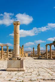 image of cardo  - Ruins at Jerash Jordan center of the Forum Cardo - JPG