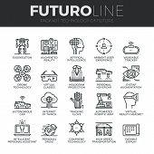 Future Technology Futuro Line Icons Set poster