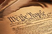 picture of the united states america  - close up of the constitution of the united states of america with quil feather pen - JPG