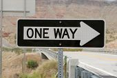 picture of traffic sign  - One way road sign - JPG