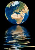 Planet Earth reflected on water