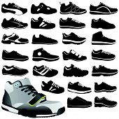 stock photo of insole  - set of fashion sport shoes illustration design vector - JPG