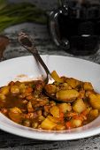 ������, ������: Portion Of Traditional Irish Beef Guinness Beer Stew With Carrots And Potato