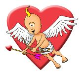 Flying Cupid with bow and arrow