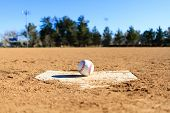 Baseball In A Baseball Field In California Mountains poster