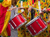 stock photo of brazilian carnival  - Rio Brazil Samba Carnival music played on drums by colorfully dressed musicians - JPG