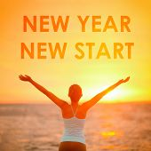 NEW YEAR NEW START motivational message, inspirational quotes for the New Year resolution in fitness poster