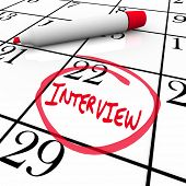 The date of an interview is circled on a calendar so you remember the important meeting with your po