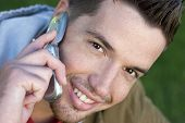 stock photo of facial piercings  - phone man - JPG