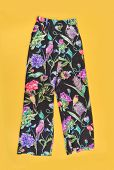 floral trousers,pants on yellow background