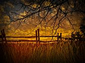 old wooden fence and a gold sunset with wheatfield , texas hill country