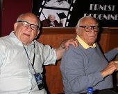 LOS ANGELES - JUL 16:  Ed Asner, Ernest Borgnine at the Hollywood Show at Burbank Marriott Conventio