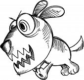 Sketch Doodle Crazy Insane Puppy Dog vector Illustration