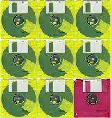 Micro floppy disc yellow red
