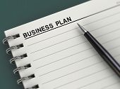 Business plan title, notebook, planner, pen