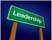 Leadership Green Road Sign Illustration on a Radiant Blue Background.