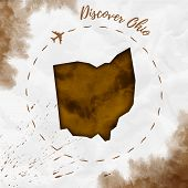 Ohio Watercolor Us State Map In Sepia Colors. Discover Ohio Poster With Airplane Trace And Handpaint poster