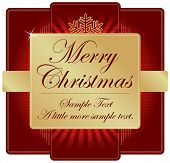 Ornate Red and Gold Christmas Label with room for your own text. Please see my color variations on this illustration.