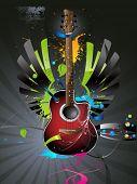 vector guitar six strings, music instrument