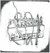 Ilustración de vector DJ equipo grunge