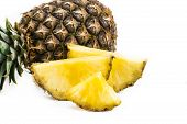 Pineapple Fruit Close-up. Texture Of Ananas Pattern Skin poster