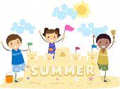 Illustration of Kids Presenting Their Sand Castle