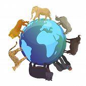 Wild Animals Around Globe Banner Vector Illustration. World Wildlife Day And Animals Planet Concept, poster