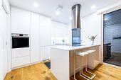 Interior Design New Modern White Kitchen With Kitchen Appliances. poster