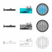 Vector Illustration Of War And Ship Logo. Collection Of War And Fleet Stock Vector Illustration. poster