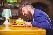 Enjoy Meal. Cheat Meal Concept. Hipster Hungry Eat Pub Fried Food. Manager Formal Suit Sit At Bar Co poster