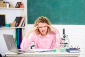 Pressure Nervous Tense. Teacher Stressful Occupation. Stressful Educator. Stressful Scientist. Girl  poster
