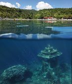 Underwater landmark and part of the main land. Amed village, Bali, Indonesia