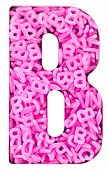 Capital letter B  made up  with 100,s of candy pink  letters  poster