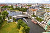 Skyline Aerial View Of Spree River And Museum Island In Berlin City, Germany. Berlin Touristic Tour  poster