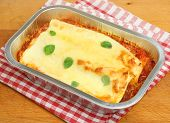 Cannelloni ready meal in foil container
